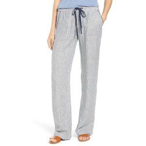 Anthro Caslon striped linen beachy pants xs p